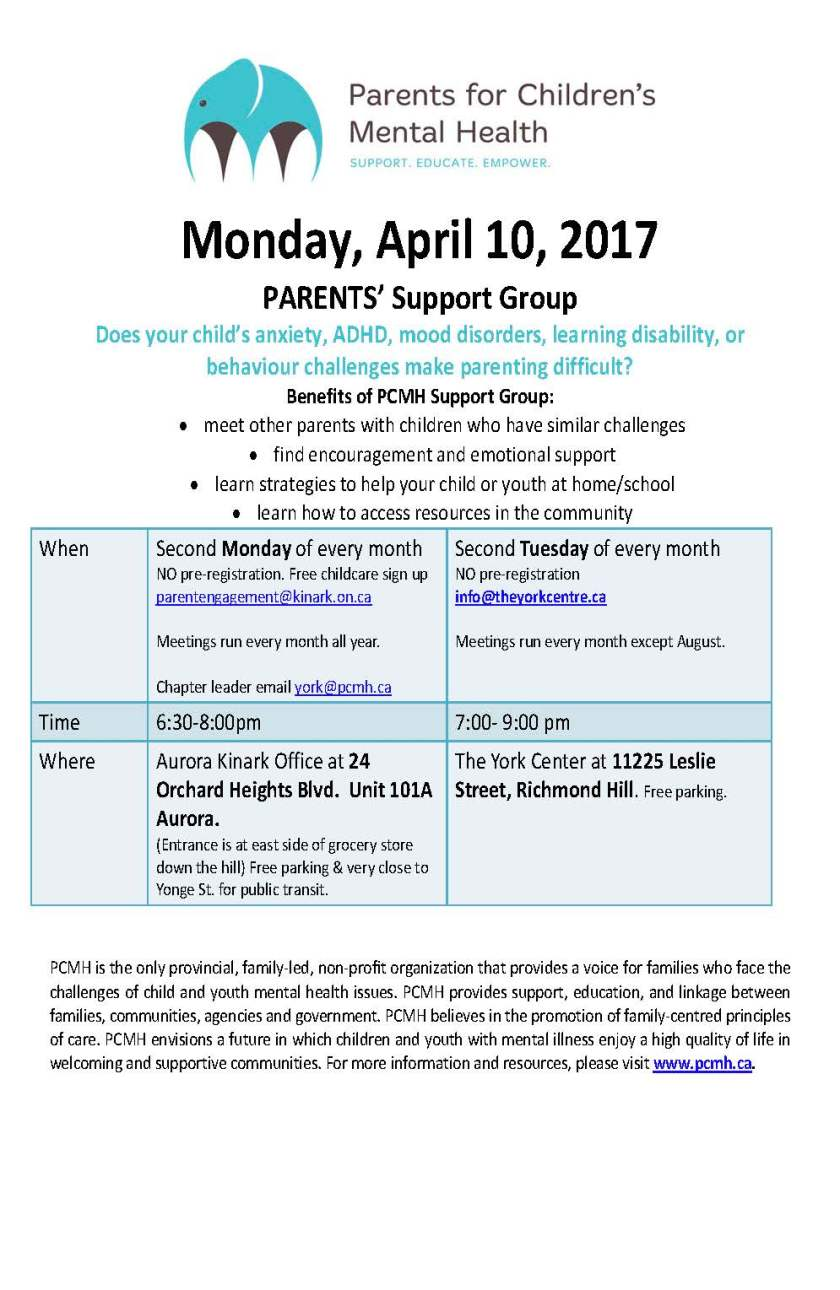 PCMH Support Group Poster April 2017