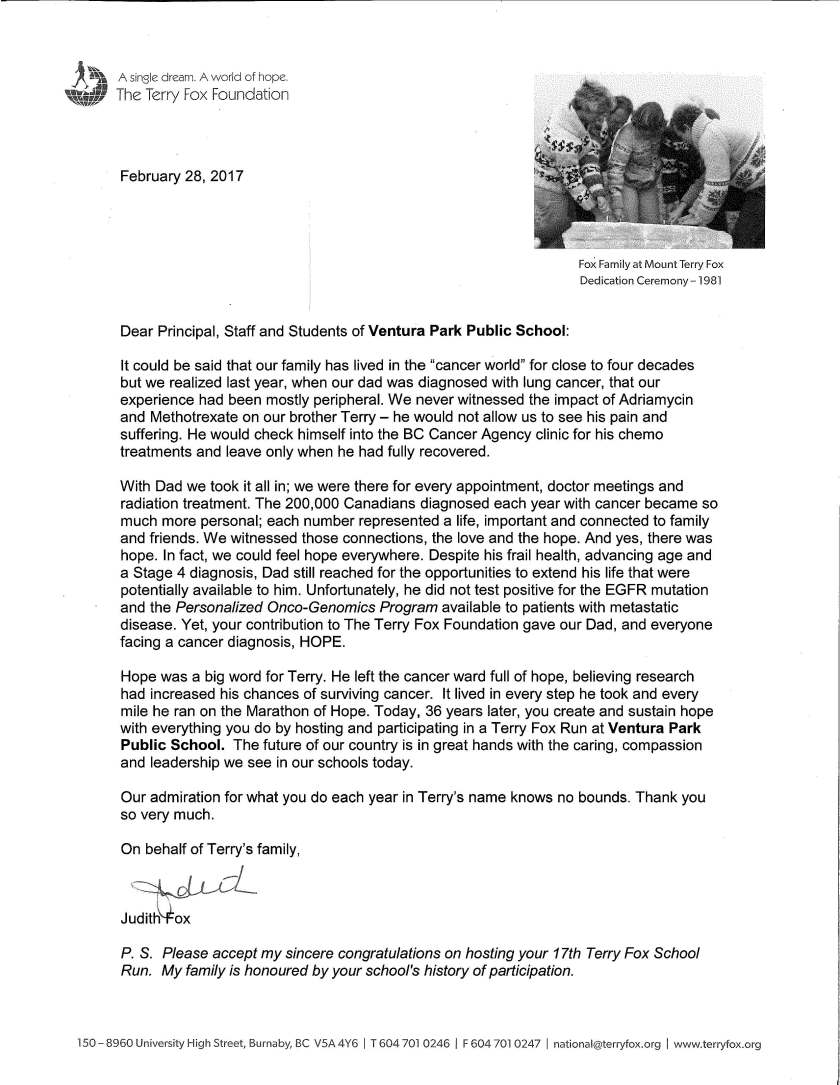 Terry Fox letter