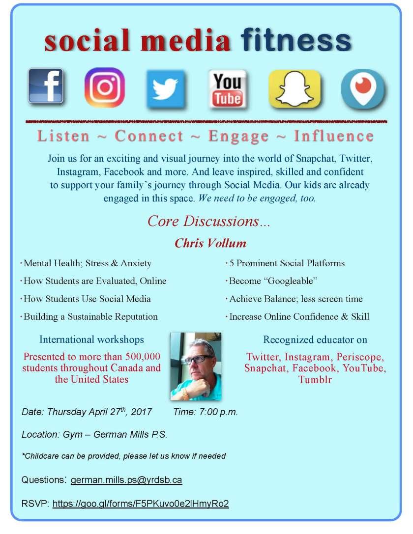Social Media Fitness Parent Flyer