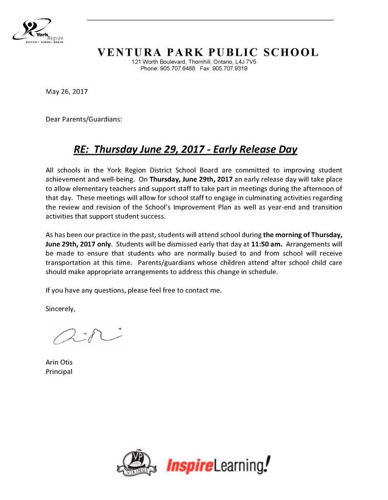 Letter to parents re June 29 early dismissal BLOG