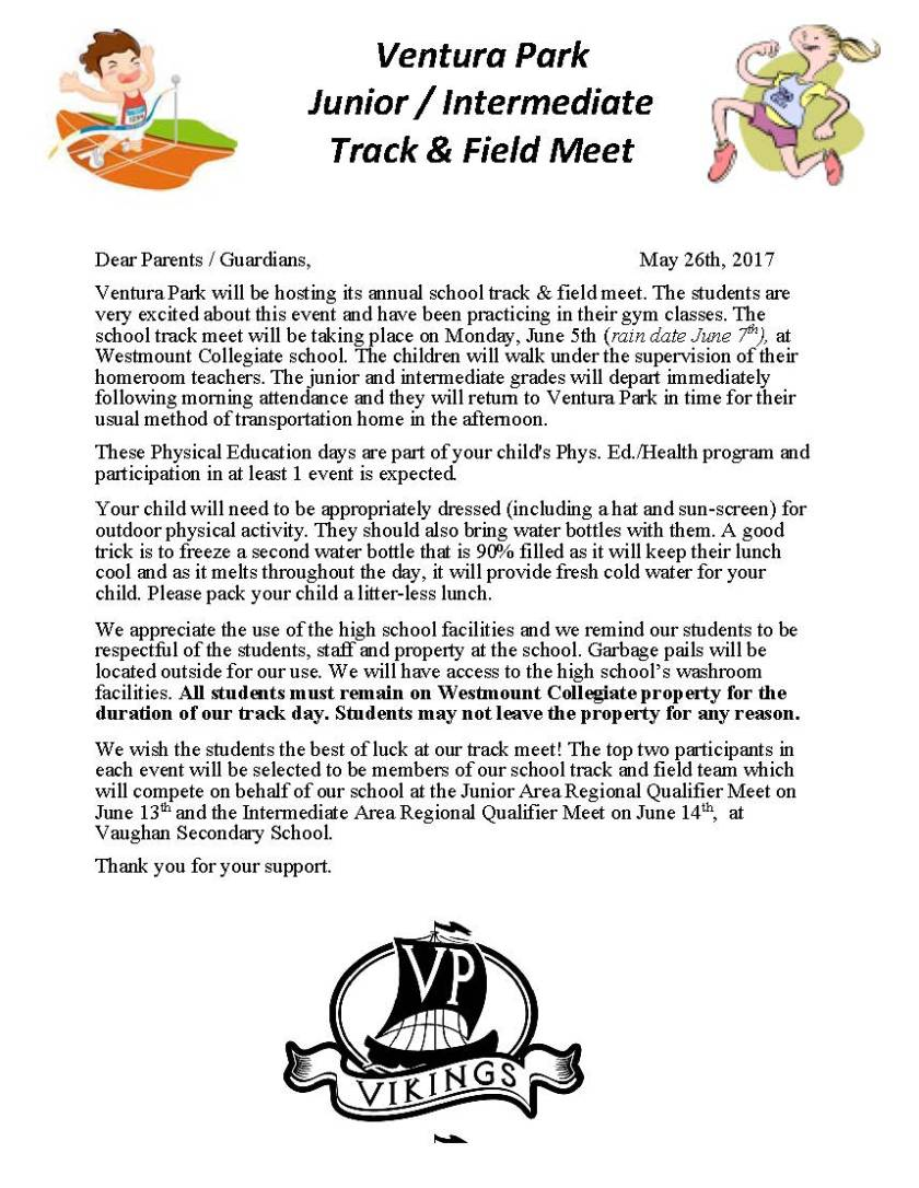 Track and Field Parent Letter