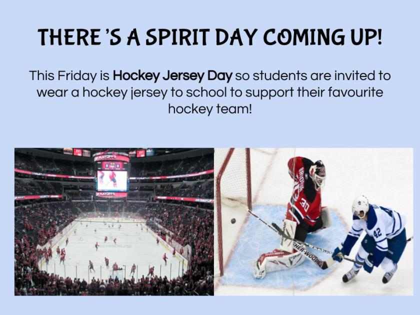 Spirit Day - Hockey Jersey Day