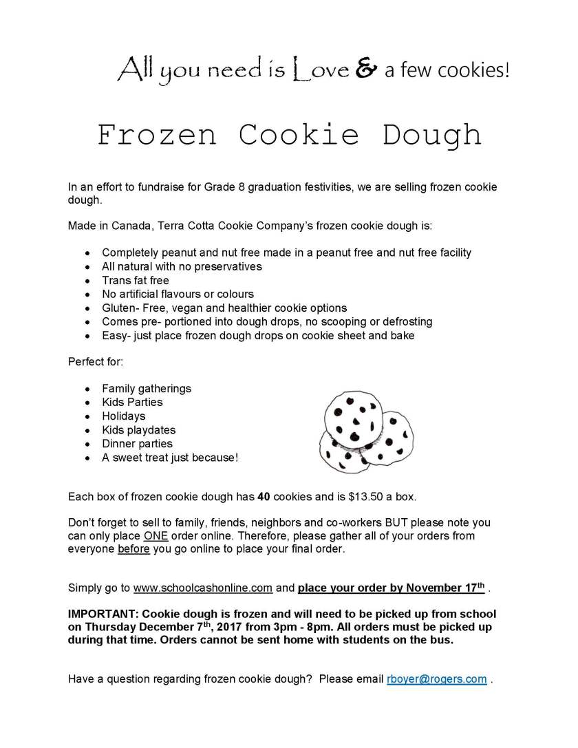 Frozen Cookie Dough info page 2017