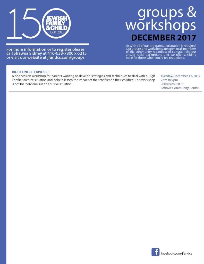 Groups and Workshops December 2017