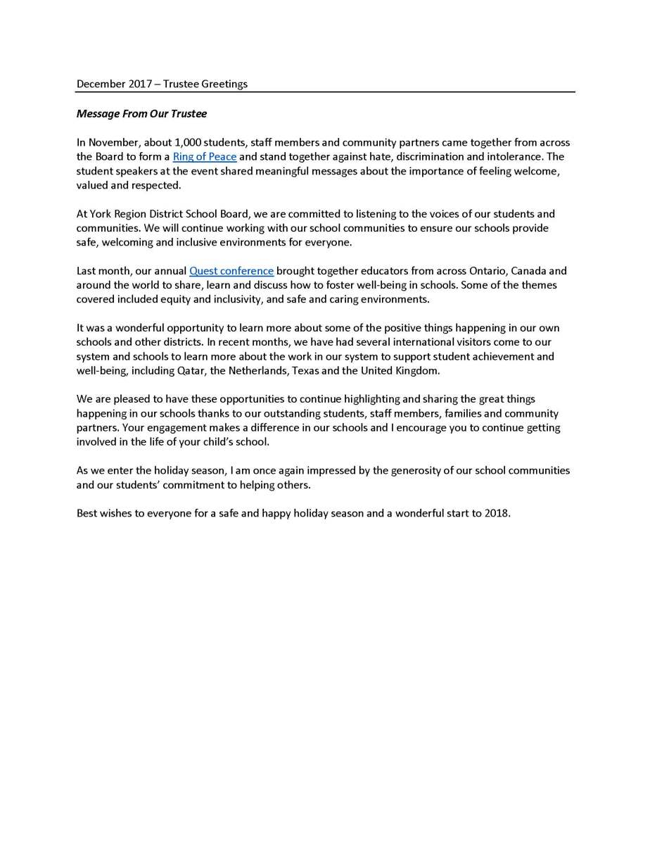 Trustee Greetings for school newsletters Dec2017