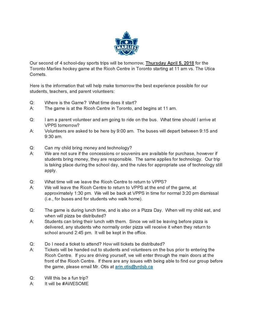 Toronto Marlies Trip FAQ
