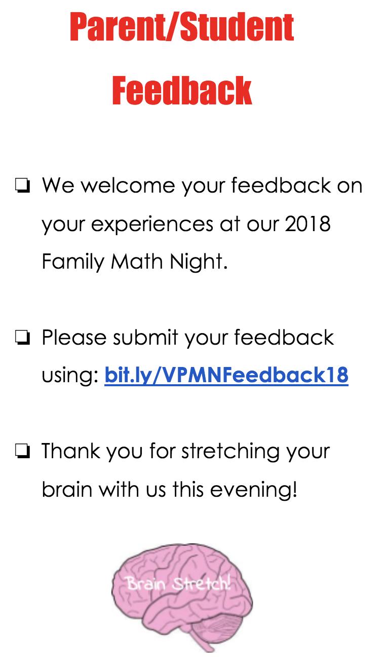 Math Night 2018 Family Feedback Link