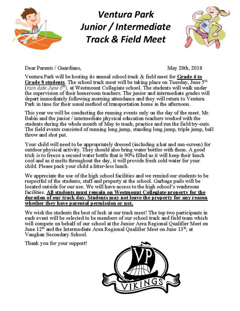 Track and Field Parent Letter May 28, 2018