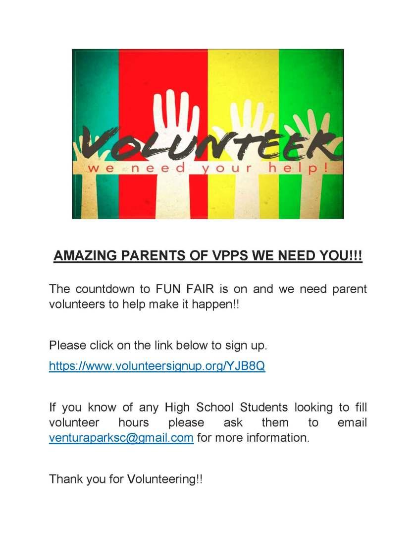 VPPS Parent and High School Volunteers