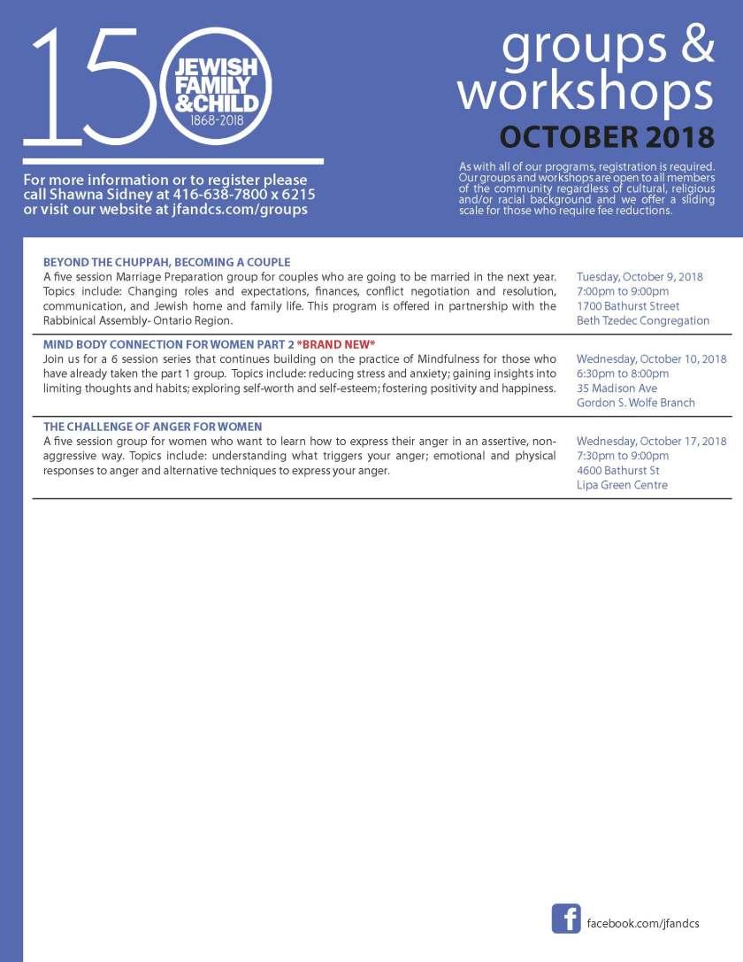 Groups and Workshops October 2018
