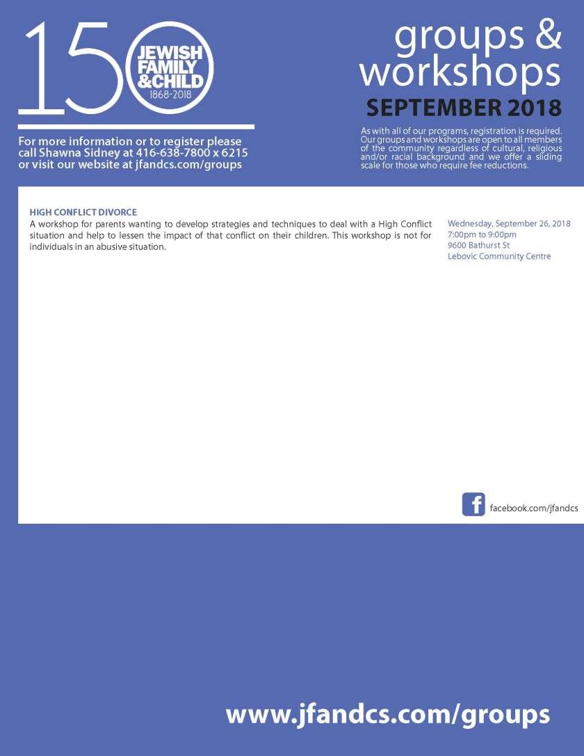 Groups and Workshops September 2018