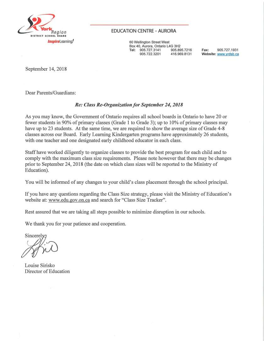 Parent Letter from Director Reorganization