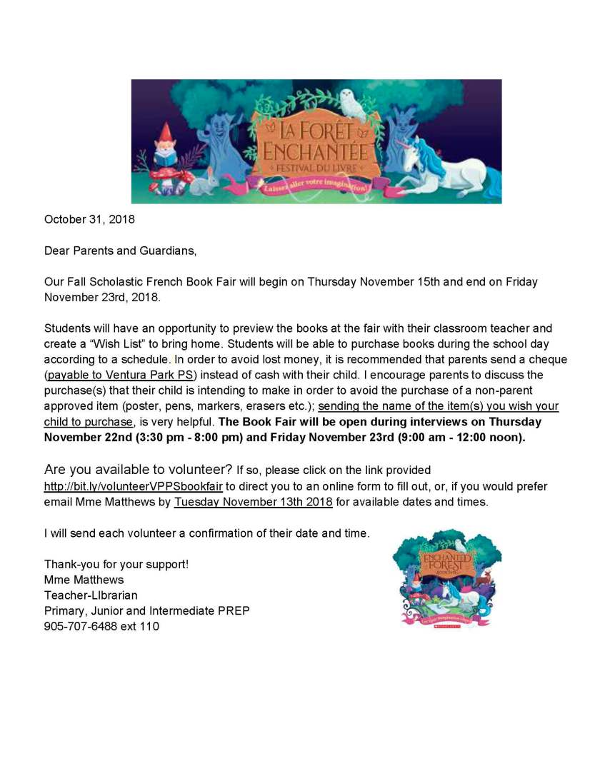 Fall 2018 Book Fair - Parent Info Letter and Volunteer Form