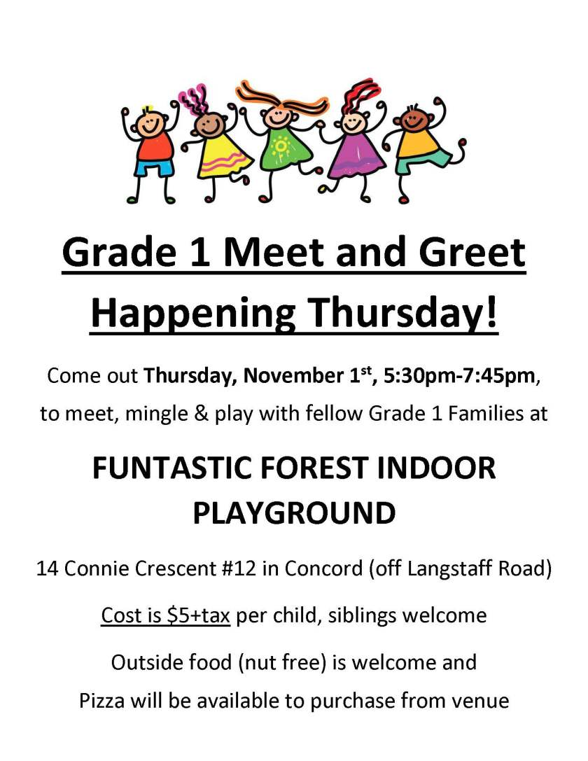 Grade 1 Meet and Greet reminder
