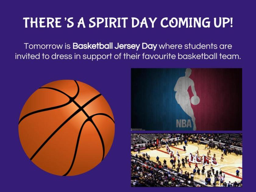 Spirit Day - Basketball Jersey Day