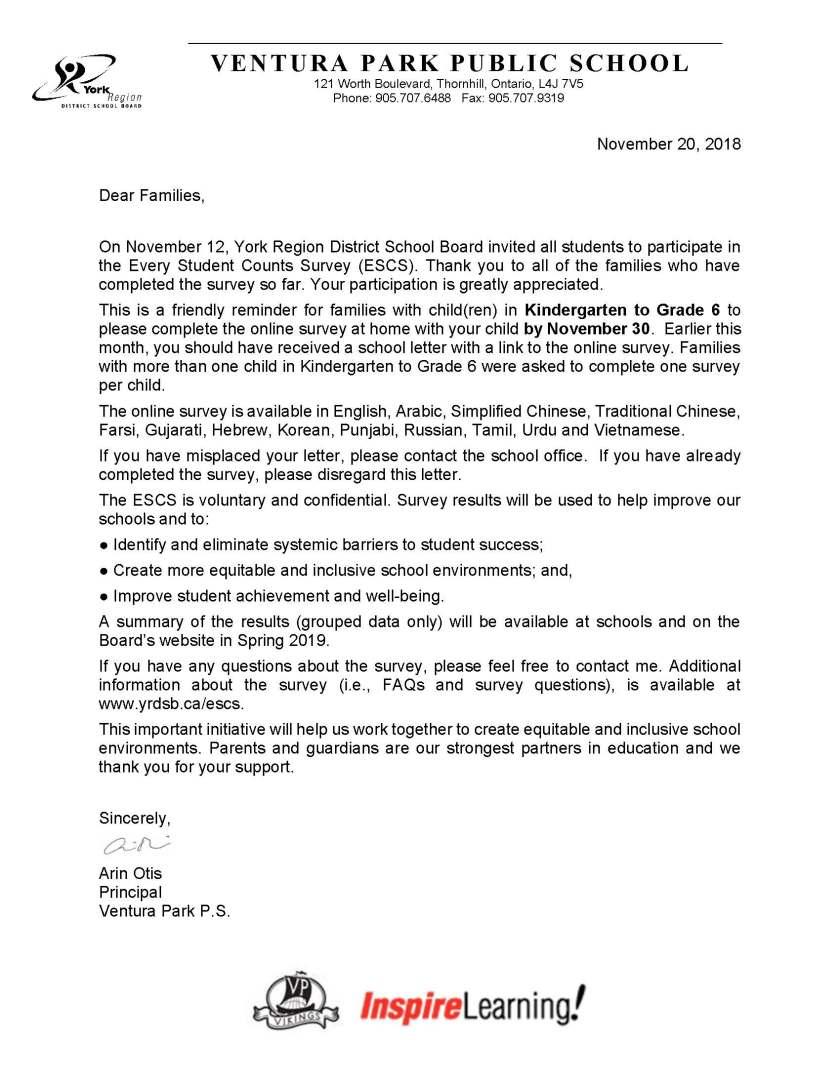 ESCS follow up letter