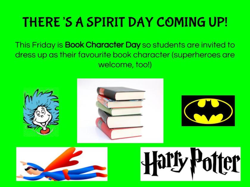 spirit day - book character day