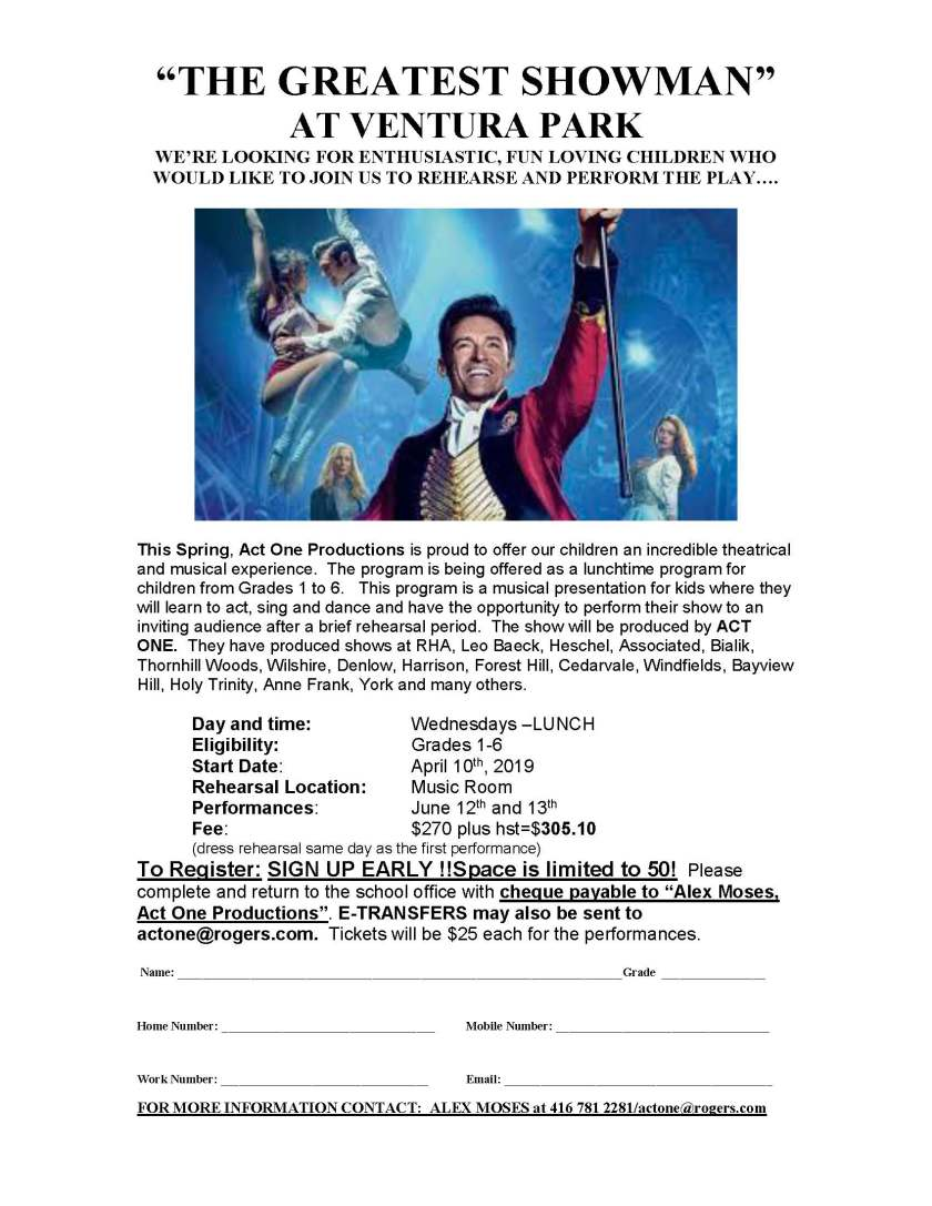 ACT ONE PRODUCTIONS The Greatest Showman Ventura Park 2019