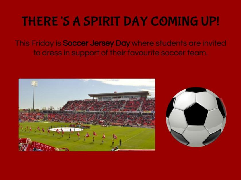 Spirit Day - Soccer Jersey Day
