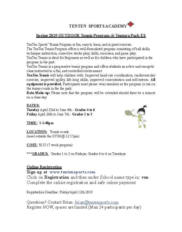 Ventura Spring 2019 Tennis Registration