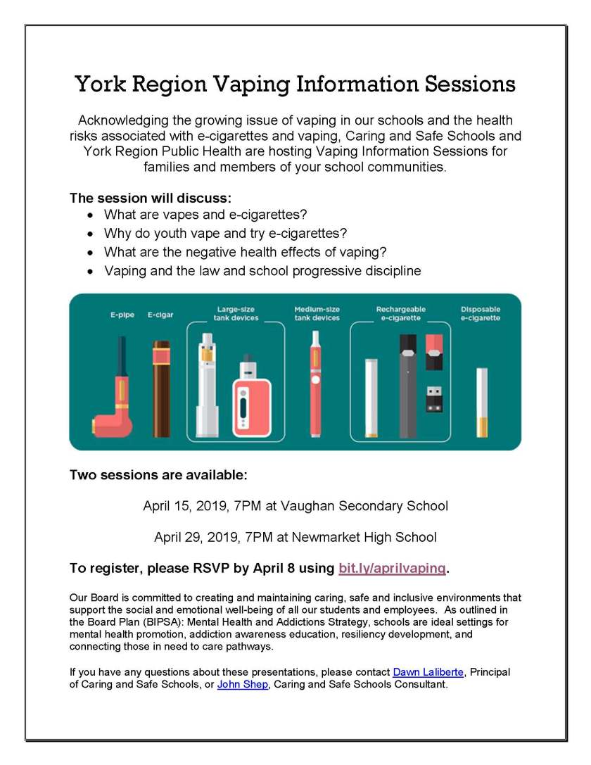 Vaping YRDSB March 26 2019 Weekly