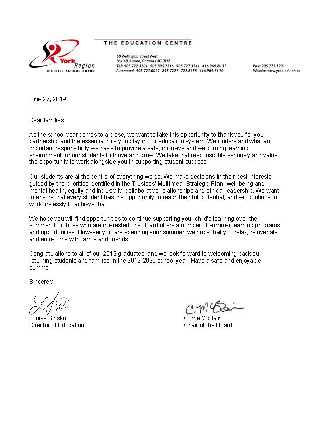 2018-19 Yearend letter to families