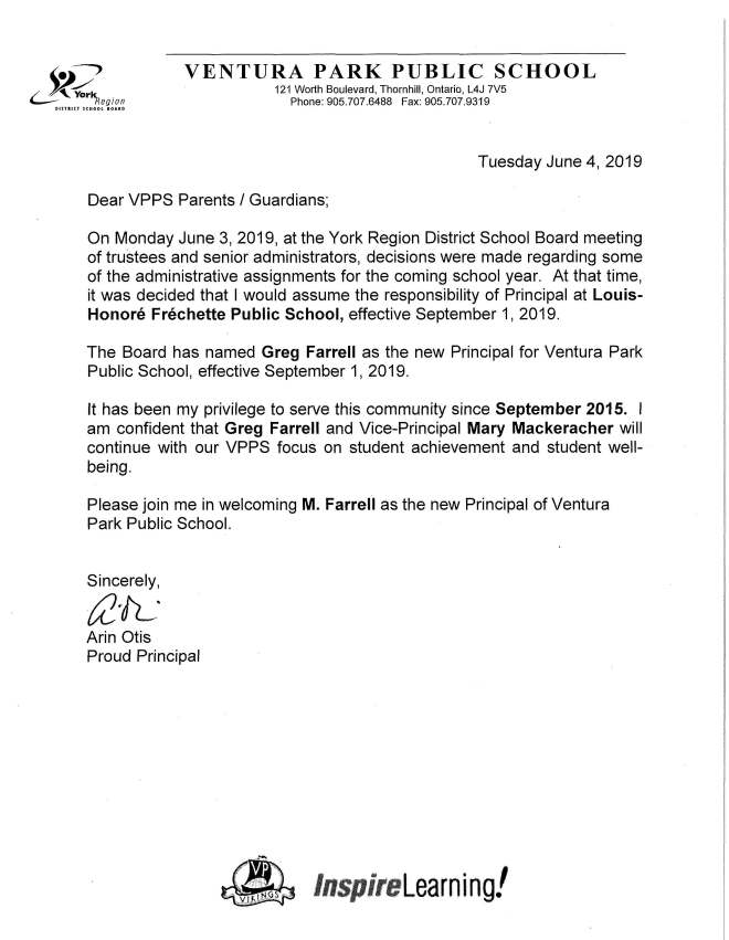 Change in Administration at VPPS