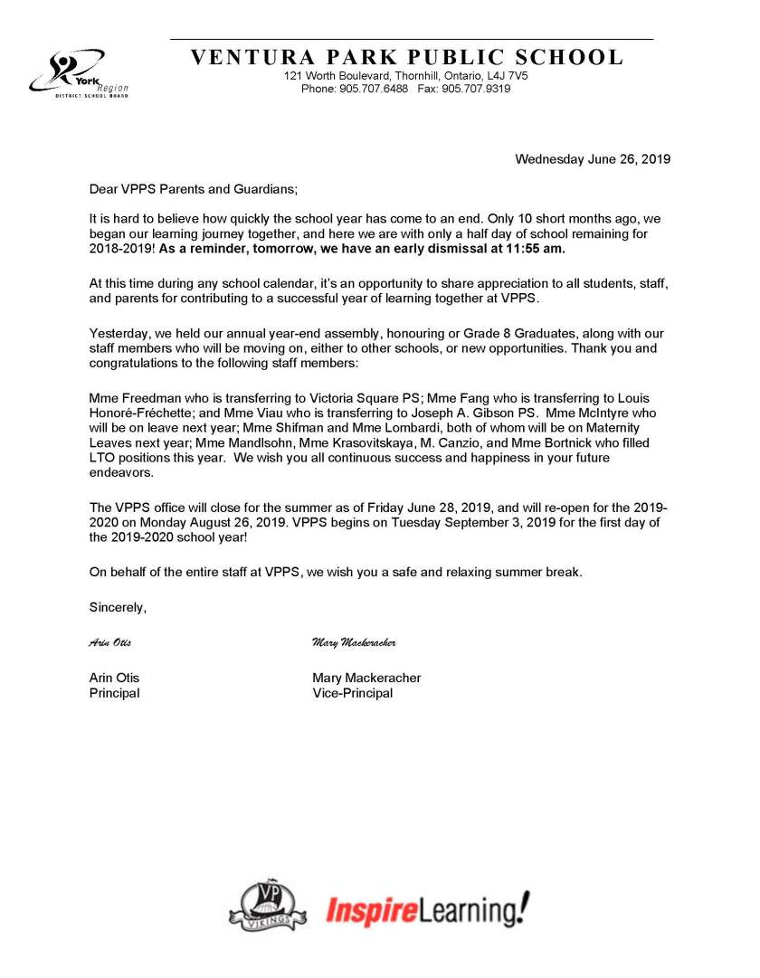 End of year letter to parents 2019