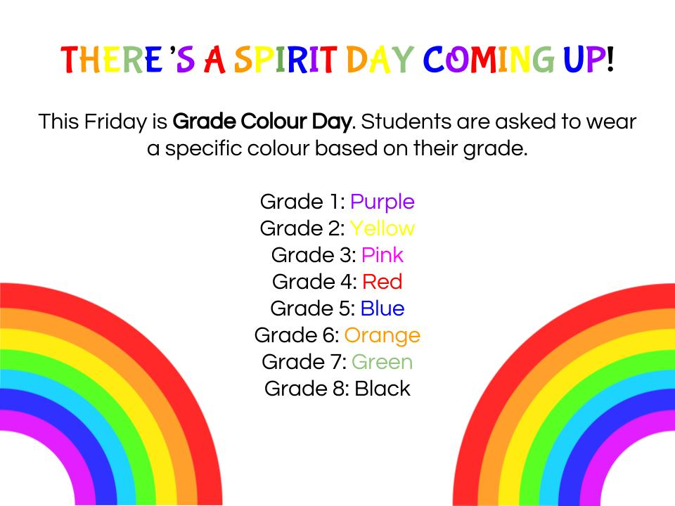 Spirit Day - Grade Colour Day
